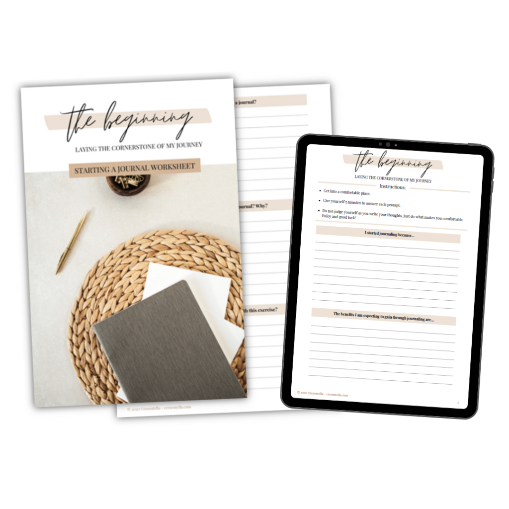 A FREE Printable worksheet to help you start a journal hassle-free